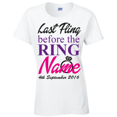 Fling Before The Ring Hen T-Shirt (Personalise Me)