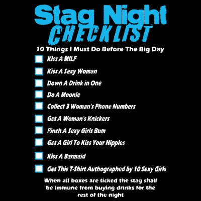 Stag Checklist T-Shirt (Personalise Me)